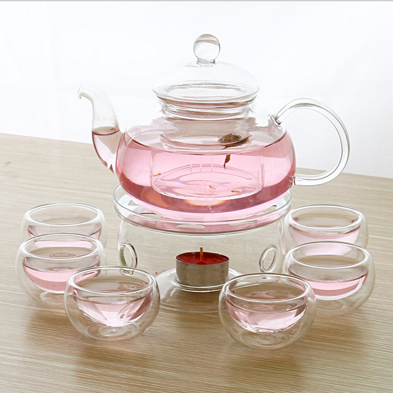 High Quality 600ml 800ml Borosilicate Glass Tea Pot Set Infuser