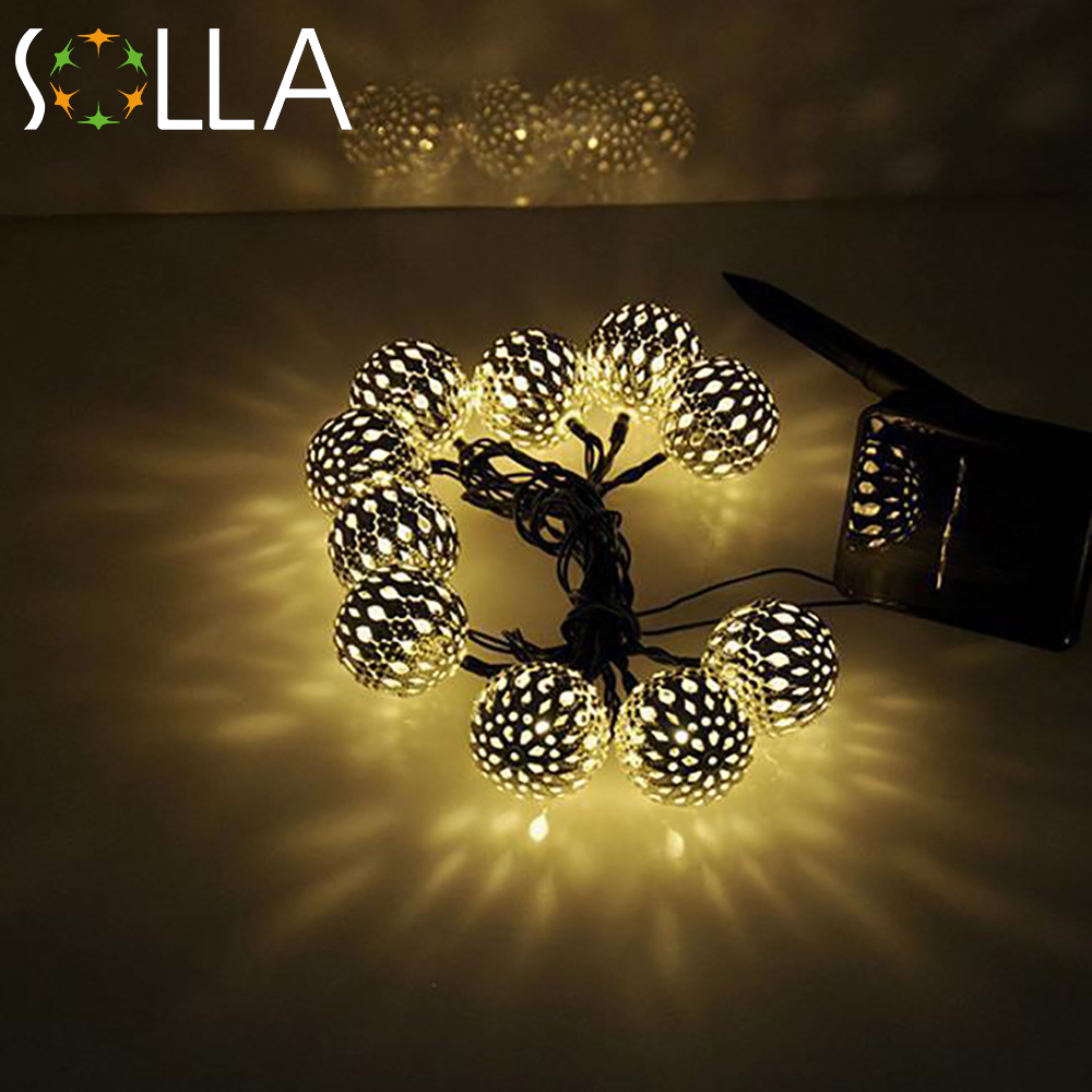 Warm white 10 Balls/Set Wholesale Moroccan String LED Fairy Lights Christmas Decoration LED Lamp ...